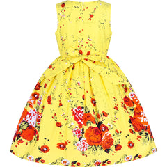 Girls Dress Cotton Rose Flower Double Bow Tie Party Size 4-12 Years