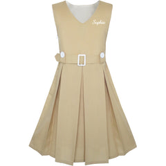Girls Dress Back School Customized Gift School Uniform Beige Size 6-14 Years