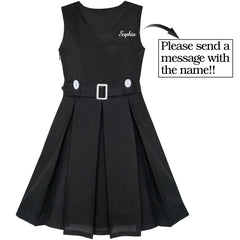 Girls Dress Back School Customized Gift School Uniform Name Embroidered Size 6-14 Years