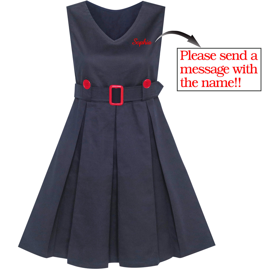 Girls Dress Back School Personalized Gift School Uniform Name Embroidered Size 6-14 Years