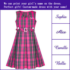 Girls Dress Back School Personalized Gift School Uniform With Name Size 6-14 Years