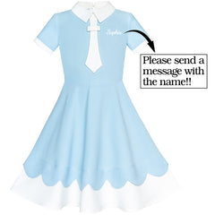 Girls Dress Back School Personalized Gift School Uniform Name Embroidered Size 5-12 Years