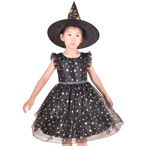 Girls Dress Set Halloween Witch Costume Black Sparkling Star Witch Hat Size 4-10 Years
