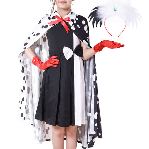 Girls Dress Set Halloween Costume For Dalmatians Wig Headband Red Gloves Size 4-14 Years
