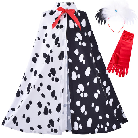 Girls Halloween Costume For Dalmatians Cloak Wig Headband Red Gloves Size 4-14 Years