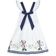 Girls Dress White Cotton Sundress Navy Blue Polka Cartoon Character Size 4-8 Years