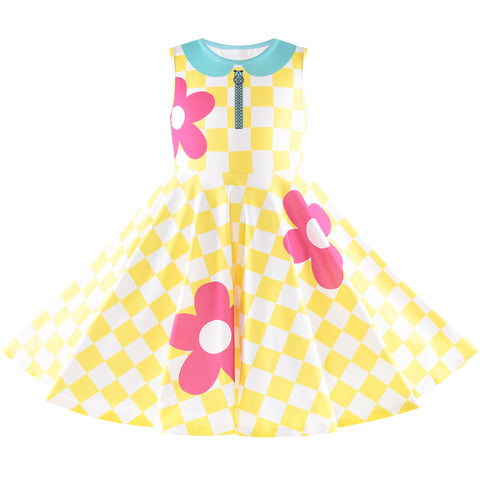 Girls Dress Doll Cosplay Halloween Costume Surprised Party Yellow Checkered Size 3-8 Years