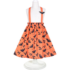 2 Pieces Set Girls Dress T-Shirt Suspender Skirt Halloween Cosplay  Size 4-12 Years