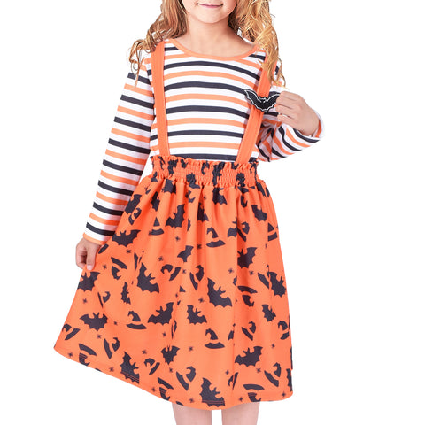 2 Pieces Set Girls Dress T-Shirt Suspender Skirt Halloween Bat Pattern  Size 4-12 Years
