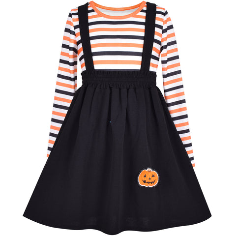 2 Pieces Set Girls T-Shirt Suspender Skirt Halloween Pumpkin Pattern  Size 4-12 Years