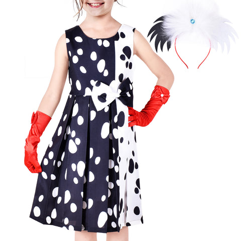 Girls Dress Halloween Costume For Dalmatians Wig Headband Red Gloves Size 4-14 Years