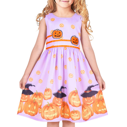Girls Dress Halloween Costume Pumpkin Cosplay Party Dress Size 4-12 Years