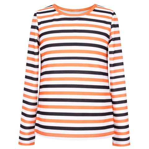 Girls T-Shirt Striped Halloween Pumpkin Pattern  Size 4-12 Years