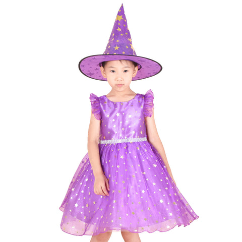 Girls Dress Set Halloween Witch Costume Purple Sparkling Star Witch Hat Size 4-10 Years