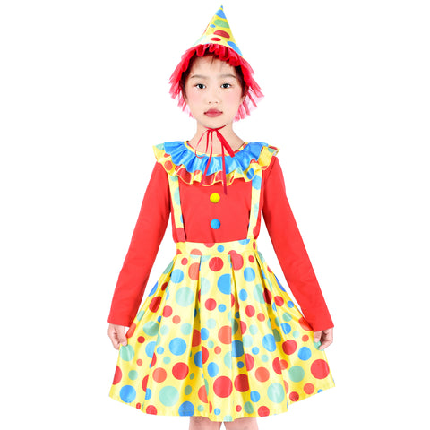 Girls Dress Set Clown Costume Hat Halloween Carnival Rose Monday Size 4-10 Years