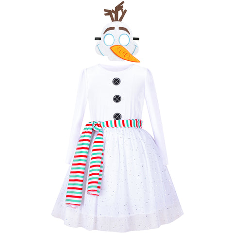 Girls Dress Costume For Snowman Christmas Halloween Cartoon Mask Scarf Size 4-8 Years