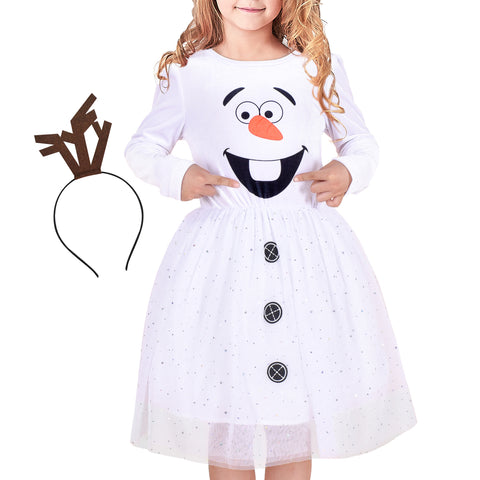 Girls Dress Costume For Snowman Christmas Halloween Party Headband Size 4-8 Years