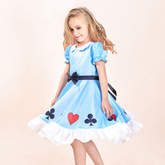 Girls Dress Doll Costume For Surprise Spade Club Heart Halloween Party Size 3-8 Years