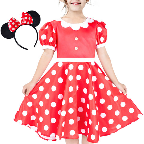 Girls Dress Red White Polka Flower Collar Halloween Costume Bow Headband Size 3-8 Years