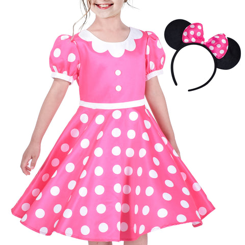 Girls Dress Pink White Polka Flower Collar Halloween Costume Bow Headband Size 3-8 Years