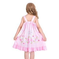 Girls Dress Princess Nightgown Sleepwear Summer Pajama Bow Tie Size 3-8 Years