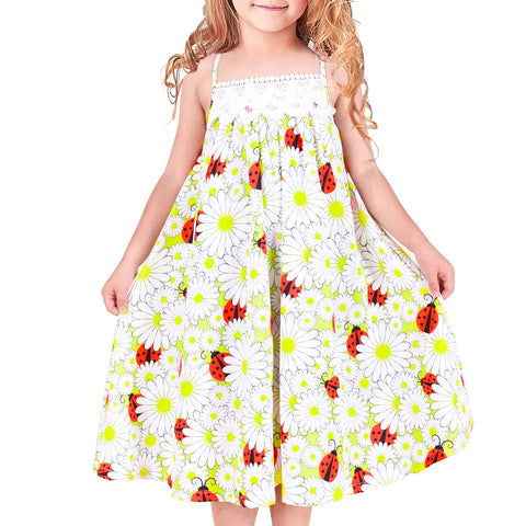 Girls Dress Ladybug Flower White Lace Trim Nightgown Size 4-8 Years