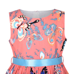 Girls Dress Pink Butterfly Sleeveless Casual Everyday Size 2-10 Years