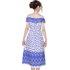 Girls Dress Blue Dot Cold Shoulder Polynesia Summer Size 7-14 Years