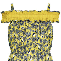 Girls Dress Cold Shoulder Hawaiian Coconut Tree Yellow Polynesia Size 6-12 Years