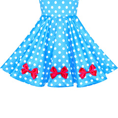 Girls Dress Blue Dot Swing Dress Doll Costume Surprise Party Size 4-8 Years
