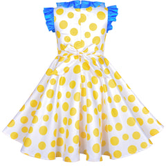 Girls Dress Yellow Dot Pleated Collar Doll Costume Surprise Party Size 4-8 Years