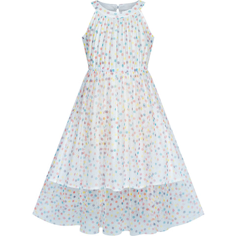 Girls Dress Colorful Dot Lace Halter Wedding Bridesmaid Gown Size 7-14 Years