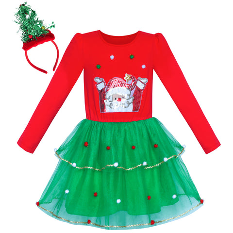 Girls Dress Christmas Tree Headband Santa Long Sleeve Party Dress Size 4-12 Years