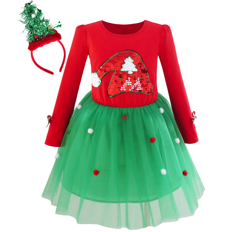 Girls Dress Christmas Tree Headband Santa Hat Long Sleeve Party Dress Size 4-12 Years