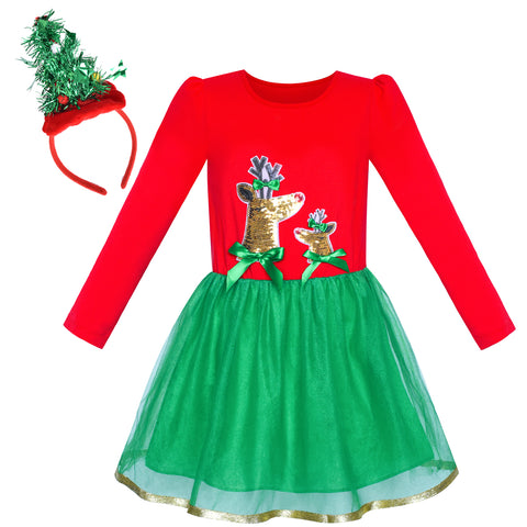 Girls Dress Christmas Tree Headband Reindeer Long Sleeve Party Dress Size 4-12 Years