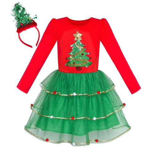 Girls Dress Christmas Tree Headband Cotton Long Sleeve Party Dress Size 4-12 Years