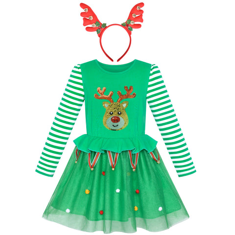 Girls Dress Reindeer Headband Green Jingle Bell Party Dress Size 3-7 Years
