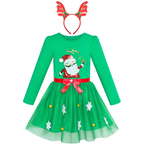 Girls Dress Reindeer Headband Santa Green Long Sleeve Party Dress Size 3-7 Years