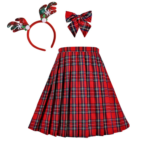 Girls Dress Christmas Reindeer Headband Red Plaid Skirt Bow Tie Size 6-14 Years