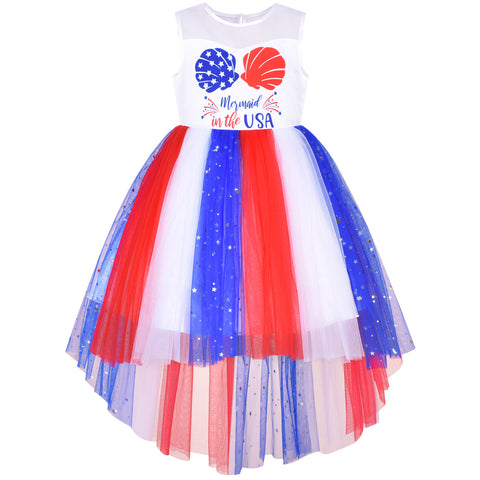 Girls Dress Mermaid US National Day July 4th Celebration Party Size 4-10 Years
