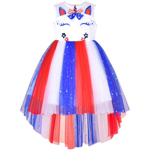 Girls Dress Unicorn US National Day July 4th Celebration Party Size 4-10 Years