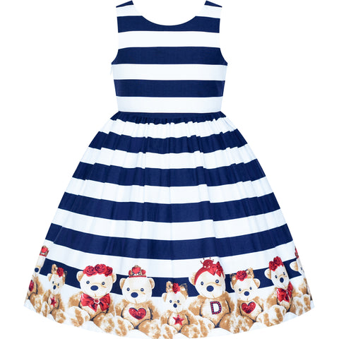 Girls Dress Cotton Casual Navy Blue Striped Bear V Back Holiday Party Size 3-8 Years
