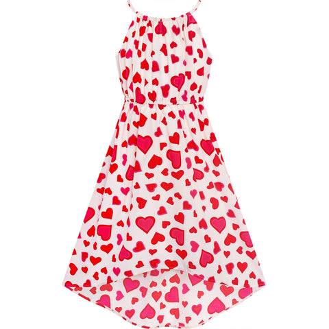 Girls Dress Red Heart Love Sleeveless Valentine's Day Slip Dress Size 6-12 Years