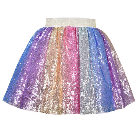 Girls Skirt Rainbow Unicorn Sequin Sparkling Tutu Dancing Size 2-10 Years