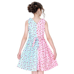 Girls Dress Color Contrast Flower Pink Blue Cotton Casual Dress Size 6-12 Years