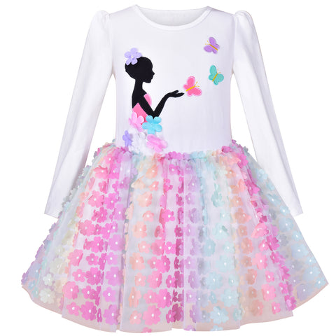 Girls Dress Tutu Skirt Rainbow Butterfly Embroidered Long Sleeve Size 6-12 Years