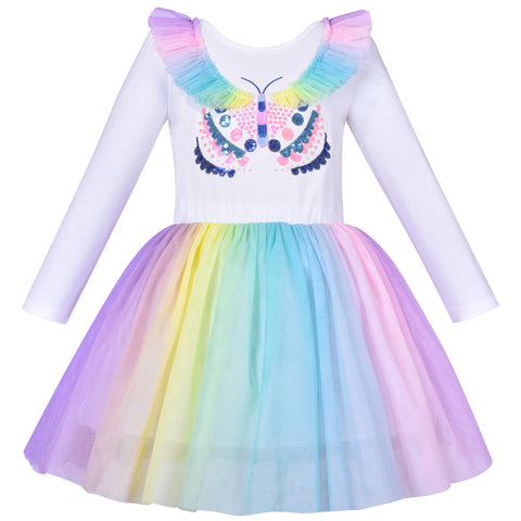 Girls Dress Rainbow Butterfly Embroidered Long Sleeve Party Dress Size 4-8 Years