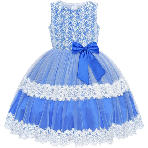 Girls Dress Lace Top Blue Wave Hem Skirt Wedding Bridesmaid Size 6-12 Years