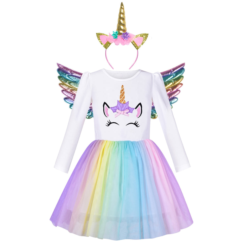 Girls Dress Unicorn Embroidered Rainbow Holiday Party Halloween Size 3-7 Years