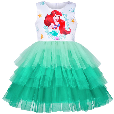Girls Dress Tutu Skirt Mermaid Gradient Tulle Party Halloween Size 3-8 Years